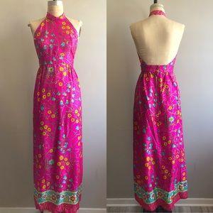 Vintage 1960's Psychedelic Pink Floral Long Dress